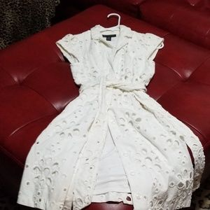 INC white button down lined dress sz 2